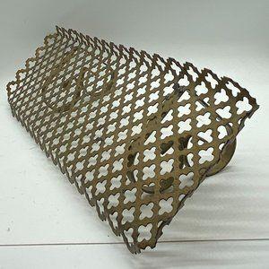 VINTAGE Pierced Metal Wall Shelf